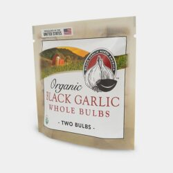Image of a package of 2 bulbs of Organic Black Garlic, Whole Bulbs, from Black Garlic North America