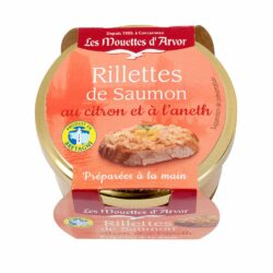 Image of the top of a jar of Les Mouettes d'Arvor Rillettes de Saumon au citron et a l'aneth (Rillettes of Salmon with Lemon and Dill)