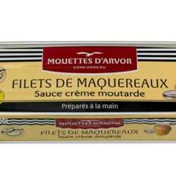 Image of the front of a tin of Mouettes d'Arvor Filets de Maquereaux Sauce creme moutarde (Mackerel Filets with Mustard Cream sauce)