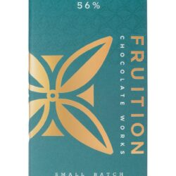 Image of the front of the package for a bar of Spring Salted Dark Milk 56%, by Fruition Chocolate Works