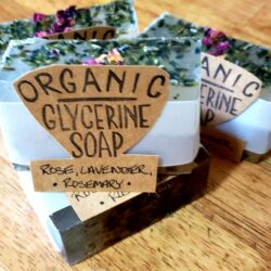 Image of packaged bars of Rosemary & Lavender Glycerin Soap