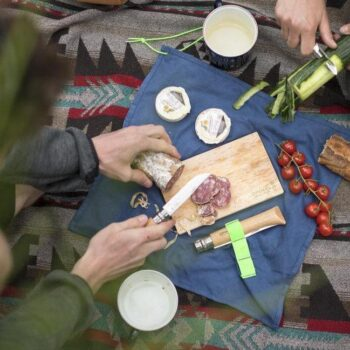 Image of the Opinel Nomad Cuisine unfolded and in use.