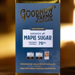 Image of the front of the packaging of a bar of Goodnow Farms Asochivite 70% with Maple Sugar