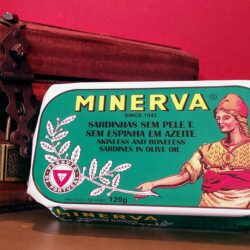 Image of the front of the packaging for Minerva Skinless and Boneless Sardines in Olive Oil