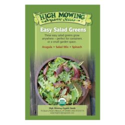 Image of the front of the box for the Easy Salad Greens Organic Seed Collection