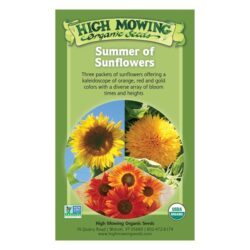 Image of the front of the box for the Summer of Sunflowers Organic Seed Collection