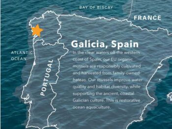Image of a map showing the location of the Galician coast