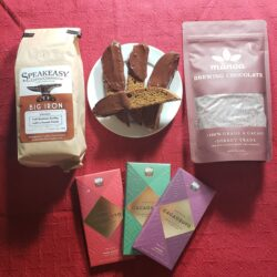 Image showing the contents of the Cafe at Home Gift Basket