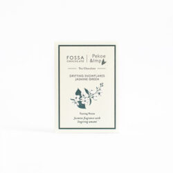 Image of the front of the packaging for a bar of Fossa Drifting Snowflakes Jasmine Green