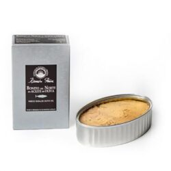 Image of the front of the package and an open tin of Ramón Peña Bonito Del Norte (Albacore) in Olive Oil