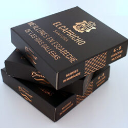 Image of the packaging for El Capricho Mussels in Escabeche