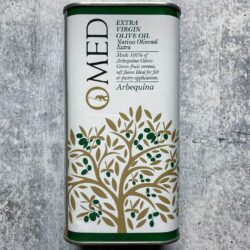 Image of the front of a tin of O-MED Arbequina Finishing Extra Virgin Olive Oil
