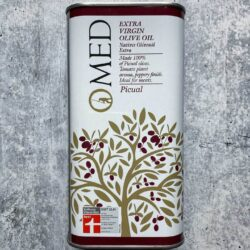 Image of the front of a tin of O-MED Piqual Finishing Extra Virgin Olive Oil