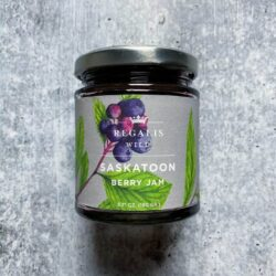 Image of the front of a jar of Wild Saskatoon Berry Preserves