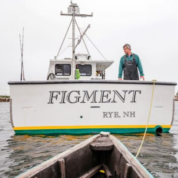 Image of Keper Connell of Gulf of Main Conservas on his boat Figment
