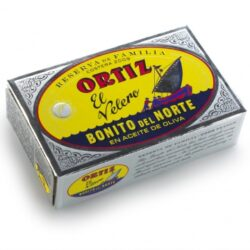 Image of the front of a package of Ortiz Family Reserve Bonito del Norte in Extra Virgin Olive Oil, tin