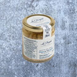 Image of the front of a jar of La Brújula White Tuna (Bonito del Norte) in Olive Oil, glass jar