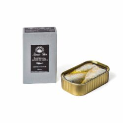 Image of the front of the package and an open tin of Ramón Peña Sardines in Olive Oil 3/5