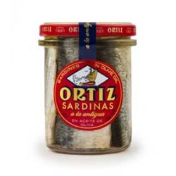 """Image of the front of a jar of Ortiz Sardinas a la Antigua """"Old Style"""" Sardines in Extra Virgin Olive Oil, Glass Jar"""