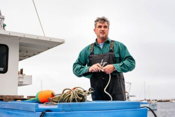 Image of Keper Connell of Gulf of Maine Conservas on his boat