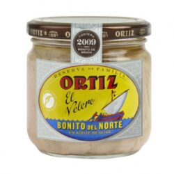 Image of the front of a Ortiz Family Reserve Bonito del Norte in Extra Virgin Olive Oil, glass jar