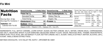 Image of the Nutrition Label for Mini Fix Bar, by Mayana Chocolate