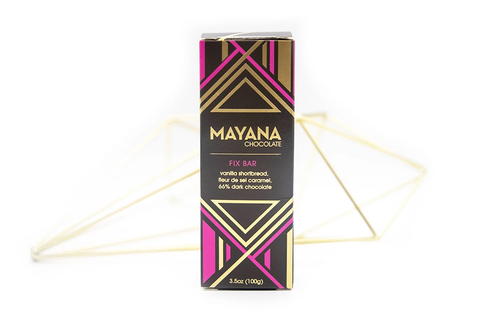 Image of the front of a package of a Fix Bar, by Mayana Chocolate