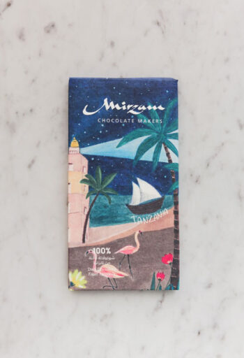 Image of the front of a package of 100% Dark Chocolate from Tanzania, by Mirzam