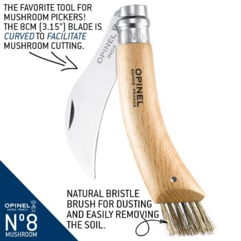 Infographic covering features of the No.08 Stainless Steel Mushroom Knife