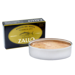 Image of the front of a package and an open tin of Zallo Bonito del Norte (White Tuna) in Olive Oil