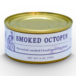 Image of the front of a tin of Wildfish Cannery Smoked Octopus