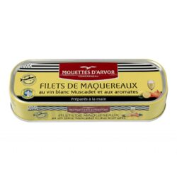 Image of the front of a tin of Mouettes d'Arvor Mackerel Fillets in Muscadet and Aromatics