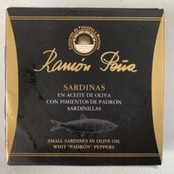 Image of the front of a package of Ramón Peña Small Sardines in Olive Oil with Padrón Pepper