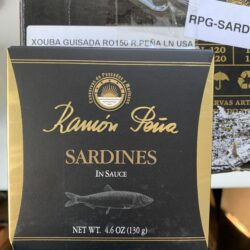 Image of the front of a package of Ramón Peña Fried Small Sardines in Stewed in Sauce (Fritas Guisadas Xouba)