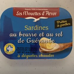 Image of the front of a package of Les Mouettes d'Arvor Sardines with Butter and Sea Salt from Guérande