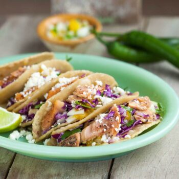 Image of a serving suggestion (salmon tacos) for Patagonia Provisions Wild Pink Salmon, Black Pepper