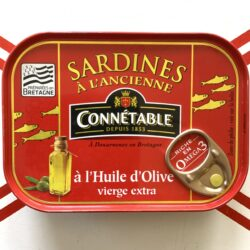 Image of the front of a tin of Connétable Sardines in Extra Virgin Olive Oil