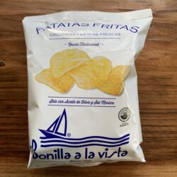 Image of the front of a package of Bonilla a la vista Patatas Fritas (Potato Chips) with Sea Salt and Olive Oil