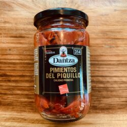 Image of the front of a jar of Dantza Pimientos del Piquillo (Piquillo Pepper) Strips