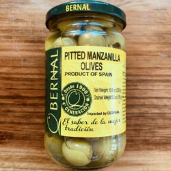 Image of the front of a jar of Bernal Pitted Manzanilla Olives