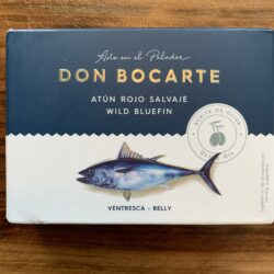 Image of the front of a package of Don Bocarte Wild Bluefin (Atun Rojo) Belly (Ventresca) in Olive Oil