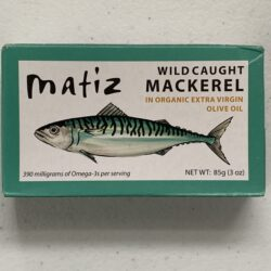 Image of the front of a package of Matiz Mackerel in Organic Extra Virgin Olive Oil