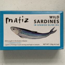 Image of the front of a tin of Matiz Sardines in Spanish Olive Oil