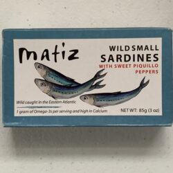 Image of the front of a tin of Matiz Small Sardines with Sweet Piquillo Peppers