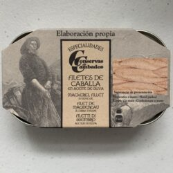Image of the front of a tin of Conservas de Cambados Mackerel Fillet in Olive Oil
