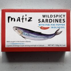 Image of the front of a tin of Matiz Spicy Sardines with Piri Piri Pepper