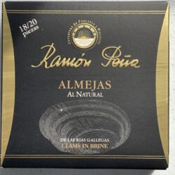 Image of the front of a package of Ramón Peña Clams in Brine 18/20