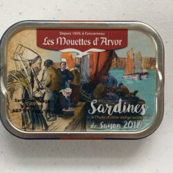 "Image of the front of a tin of Les Mouettes d'Arvor Sardines in Extra Virgin Olive Oil, Vintage ""Saison 2018"""