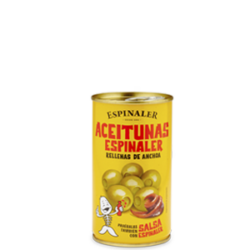 Image of the front of a can of Espinaler Olives Stuffed with Anchovy Paste