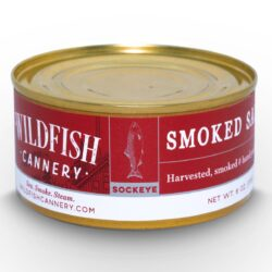 Image of the front of a tin of Wildfish Cannery Smoked Sockeye Salmon